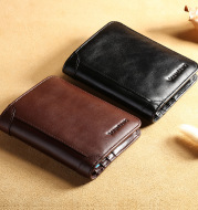 Cowhide Top Clip Short Man's Purse With Three Discount