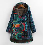 Retro Ethnic Floral Print Plus Size Cotton Jacket
