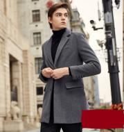 Autumn And Winter Woolen Coat Men's Wool Mid-Length Trench Coat Over The Knee