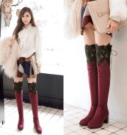 Increased Female Boots Sexy Knee High-heeled Boots Inside Hollow Lace