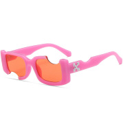 European And American FunnyRectangular Notch Personalized Sunglasses
