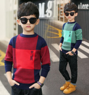 Boys' Casual Large Plaid Sweater, Medium And Large Children's Sweater
