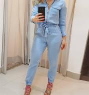 Women's Blue Zipper Jumpsuit Trousers