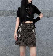 Harajuku Style Retro Denim Skirt High Waist Leopard Print Skirt Women