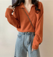 Retro Loose And Lazy Soft Waxy Sweater With V-neck Top And Short Coat