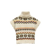 Vintage Stand-up Collar Sleeveless Jacquard Knitted Vest