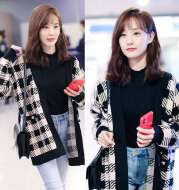The Same Black And White Checked V-neck Sweater Cardigan Woman