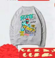 Hip-hop Jurassic Print Skateboard Turtleneck