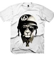 Anti-war Peace Spoof Retro Old Cat 3D Printing Rock Band Men's Short-sleeved T-shirt
