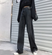 Women's Wide-leg Black Jeans With Cashmere In Autumn And Winter