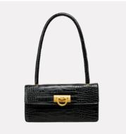 Gold Buckle Crocodile Pattern Vintage High-end One-shoulder Armpit Bag