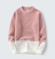 Fall Winter Pullover Round Neck Gradient Base Shirt Sweater Men
