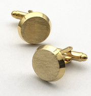 French Gold Brushed Round Men's European And American Cufflinks