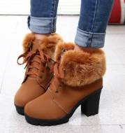 Coarse Heel lace-up Cotton Boots With Lady Fur Hem