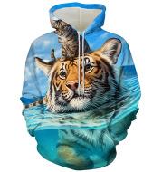 Men's Tiger Series 3D Printing Hooded Loose Sweater