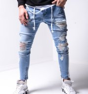 Men's High-End Slim-Fit Ripped Feet Pants New Men's Jeans
