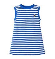 Navy Blue Striped Sleeveless T-Shirt Dress