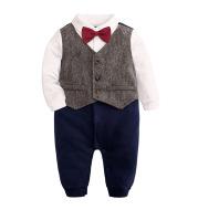 Baby One-year-old Dress Bow Tie Shirt Gentleman Romper