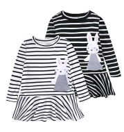 Girls Cotton Striped Bunny Applique Embroidered Baby Long Sleeve Dress Kids