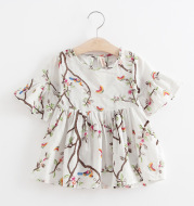 Girls Kids Skirts Flared Sleeve Printed Cotton Dress