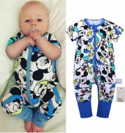 Boys And Girls Cotton Cartoon Bag Fart Clothes Baby Short Sleeved One Piece Baby Romper