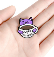 Cat Drinking Coffee Enamel Alloy Brooch