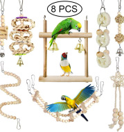 Parrot Chewing Toy Bird Toy Log Swing Set Of 8