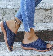Round Head Retro Solid Color Women's Sandals Hollow Seam Wedge Heel
