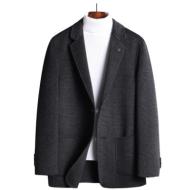 Autumn and winter simple double-sided woolen suit men's self-cultivation plaid handmade small suit no cashmere suit jacket men