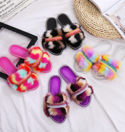 Color Wool Chain Flat Diamond Slippers Lady