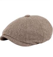 Men's and Wmen's Woolen Beret Casual Painter Hat European and American Octagonal Hat