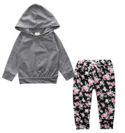 Children's Clothing New Middle And Small Children Autumn Floral Two-Piece Set