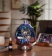 Colorful 3D Fireworks Glass Ultrasonic Essential Oil Aromatherapy Lamp