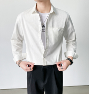 Spring New Light Mature Style Long-Sleeved Shirt Young Men Handsome Temperament Casual