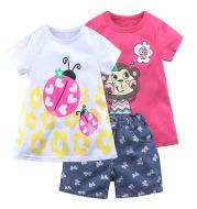 Three-Piece Summer Girls Short-Sleeved Shorts