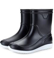 Men's Mid-Tube Rain Boots Thickened Plastic Water Shoes