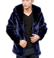 Men's Mink Fleece Jacket Short Zipper Hooded Coat