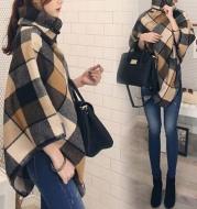 Fashion All-Match Women's Plaid Shawl Woolen Coat