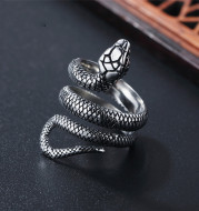 European and American Retro Personality Snake Python Titanium Steel Ring