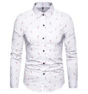 Men's Feather Print Slim Long Sleeve Shirt