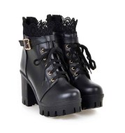 For Women, Lace-up Martens Boots With High Heels And Thick Heels