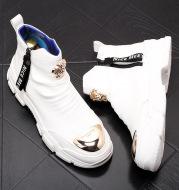 High-Top Shoes Winter Warm Zhongbang Men's Shoes White Short Boots Fashion Cowboy Boots Horse