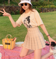 Skirt Short High Waist Korean Milk Tea Plaid