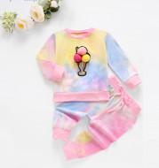 Children's Long-Sleeved Tie-Dye Ice Cream Printed Top  Pants Suit