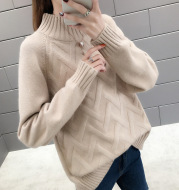 New Lazy Style Sweater Women Half High Neck Autumn and Winter Korean Version