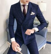Hair Stylist Suit Three-Piece Korean Style Men's Plaid Slim Suit