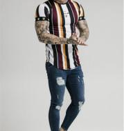 Hip Hop Striped Outdoor Sports Short Sleeve Printed T-shirt