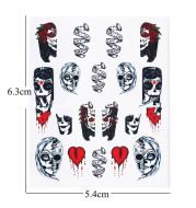 Black and White Color Skull Element Set Nail Stickers