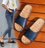 Large Size Retro Wood Grain Flat Sandals Women