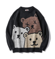Bear Couple Sweater Men and Women Trend Loose Round Neck Lazy Knit Sweater